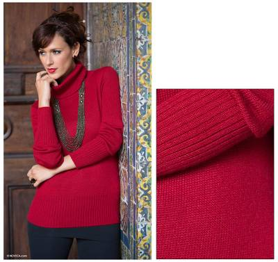 Alpaca blend sweater, 'Ravishing Ruby' - Alpaca Blend Turtleneck Sweater
