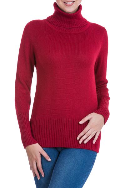 Alpaca blend sweater, 'Ravishing Ruby' - Alpaca Blend Turtleneck Sweater