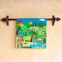 Cotton applique wall hanging, 'A Jungle Story' - Cotton applique wall hanging