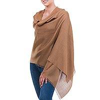 Alpaca and silk shawl, 'Cuzco Cinnamon' - Fine Silk Alpaca Blend Lightweight Shawl
