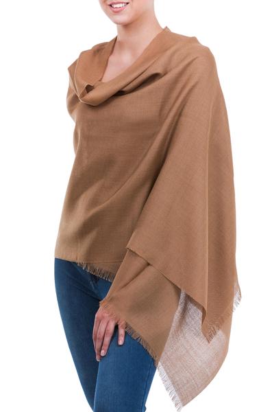 Alpaca and silk shawl, 'Cuzco Cinnamon' - Fine Silk Alpaca Blend Lightweight Shawl