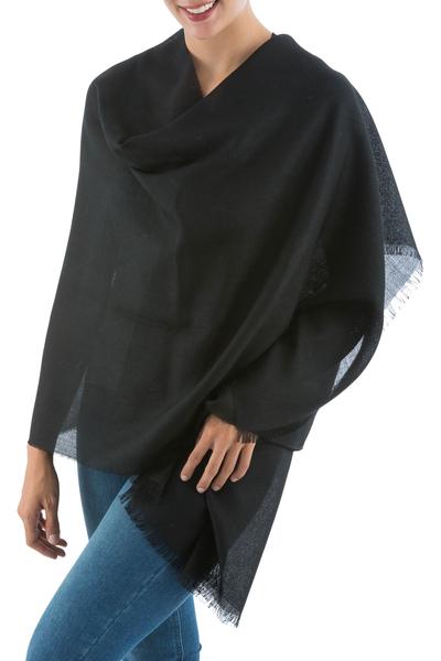 Alpaca and silk shawl, 'Mancora Night' - Handmade Alpaca Wool Shawl from Peru