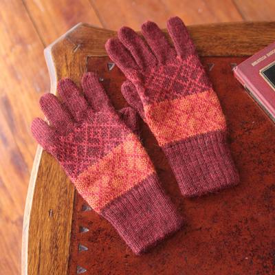 100% alpaca gloves, 'Diamond of the Andes' - Handmade Alpaca Wool Patterned Gloves