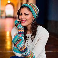100% alpaca fingerless mitts, 'Ancash Fantasy' - Alpaca Wool Patterned Fingerless Mitt Gloves