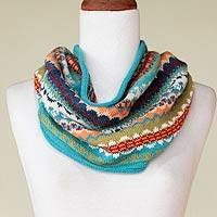 100% alpaca neck warmer, 'Ancash Fantasy' - Alpaca Wool Striped Infinity Scarf Neckwarmer