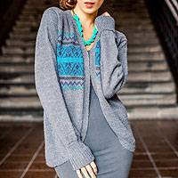 100% alpaca sweater, 'Blue Inca Sky' - Handcrafted Alpaca Wool Cardigan