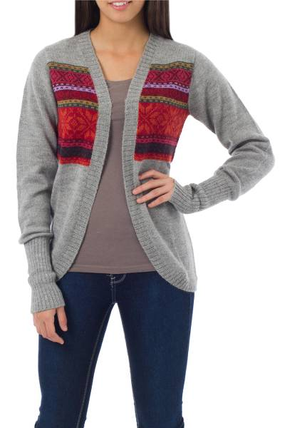 100% alpaca sweater, 'Red Inca Snowflakes' - Alpaca Wool Open Cardigan Sweater