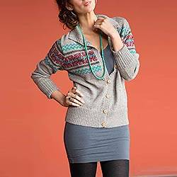 100% alpaca cardigan, 'Lima Sublime' - Alpaca Wool Button Up Cardigan Sweater