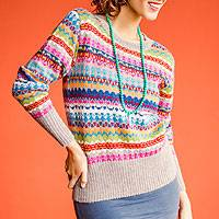 100% alpaca sweater, 'Fiesta in Ica' - Alpaca Art Knit Pullover from Peru