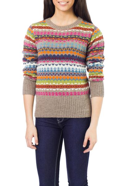 100% alpaca sweater, 'Fiesta in Ica' - Alpaca Art Knit Pullover from Peru