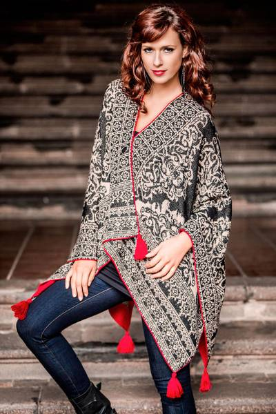 100% alpaca kimono-style ruana, 'Floral Shadows' - Black And White 100% Alpaca Wool Ruana with Red Accents