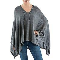 Pima cotton hooded poncho, 'Trendy Grey'