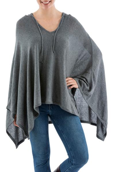Pima cotton hooded poncho, 'Trendy Grey' - Women's Peruvian Pima Cotton Hooded Poncho in Grey