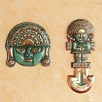 Bronze and copper wall decor, 'Legendary Tumi' (pair) - Archaeological Bronze and Copper Pair