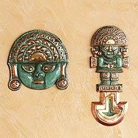 Bronze and copper wall decor, 'Legendary Tumi' (pair)
