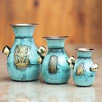 Copper and bronze vases, 'Inca Inheritance' (set of 3)