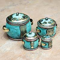 Copper and bronze boxes, 'Grand Peru' (set of 4)