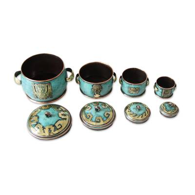 Copper and bronze boxes, 'Grand Peru' (set of 4) - Copper and bronze boxes (Set of 4)