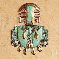 Copper and bronze mask, 'Eight Tears' - Exquisite, Incan Copper and Bronze Mask