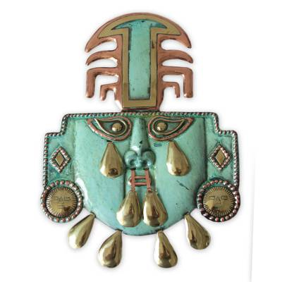Copper and bronze mask, 'Eight Tears' - Unique Inca Copper and Bronze Mask