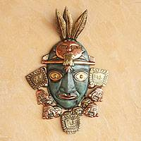 Copper and bronze mask, 'Inca Warrior' - Bronze and Copper Archaeological Reproduction Mask