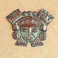 Copper and bronze mask, 'Moche Nobleman' - Hand Crafted Bronze and Copper Wall Decor Mask