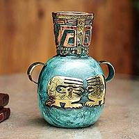 Copper and bronze vase, 'Inca Fishermen' - Handcrafted Inca Bronze and Copper Vase