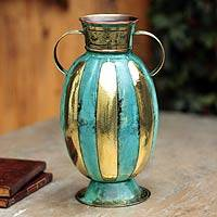Copper and bronze vase, 'On Ceremony' - Copper and bronze vase