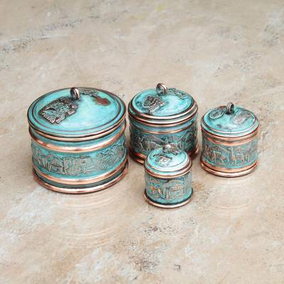 Copper stackable boxes, 'Andean Trail' (set of 4) - Copper stackable boxes (Set of 4)