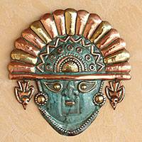 Copper and bronze mask, 'Ai Apaec' - Unique Copper and Bronze Wall Mask