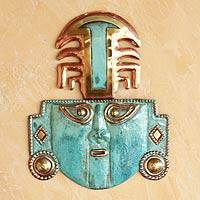 Copper and bronze mask, 'Great Ai Apaec I' - Handcrafted Archaeological Mask