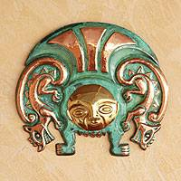 Copper and bronze mask, 'Moche Warrior Insignia' - Copper and Bronze Wall Mask Handmade in Peru