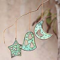 Bronze and copper ornaments, 'Joyous Art' (set of 6) - Copper and Bronze Christmas Ornaments (Set of 6)