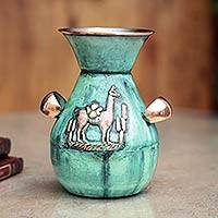 Bronze and copper vase, 'The Messenger and the Llama' - Copper and Bronze Decorative Vase from Peru