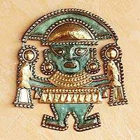 Copper wall adornment, 'Life Eternal' - Copper Wall Sculpture Bronze Prehispanic Style Peru