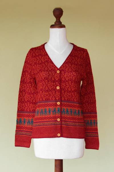 100% alpaca cardigan, 'Alpaca Fantasy' - Fair Trade Alpaca Wool Button Up Cardigan
