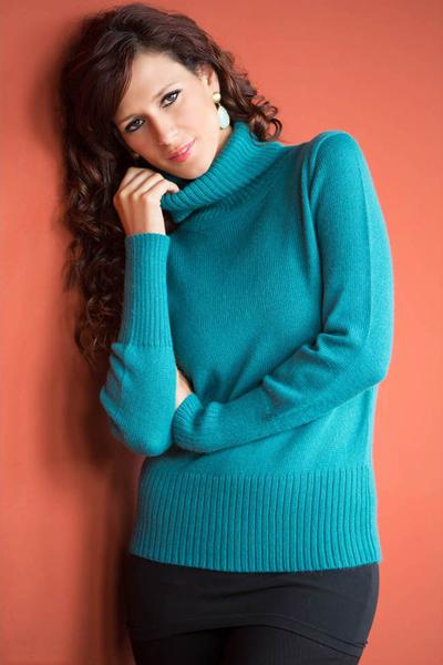 Alpaca blend sweater, 'Teal Temptress' - Alpaca Blend Turtleneck Sweater