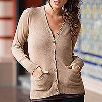 Cotton and alpaca blend cardigan, 'Nazca Brown' - Hand Crafted Cotton and Alpaca Cardigan Sweater