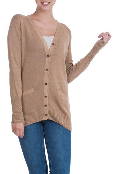 Cotton and alpaca blend cardigan, 'Nazca Brown' - Hand Crafted Cotton and Alpaca Cardigan Sweater