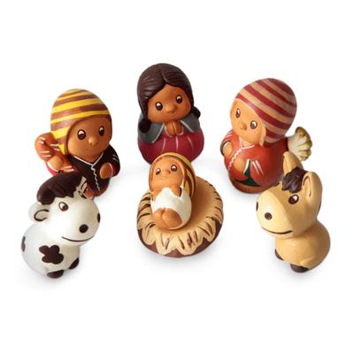 Handcrafted 7 Piece Nativity Scene Set Ceramic Sculptures