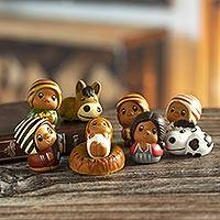Ceramic nativity scene, 'L'il Nativity' (set of 9) - Folk Art Ceramic Figurines 9 Piece Nativity Set from Peru