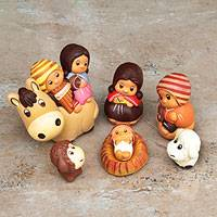 Ceramic nativity scene, 'Divine Arrival' (set of 7)