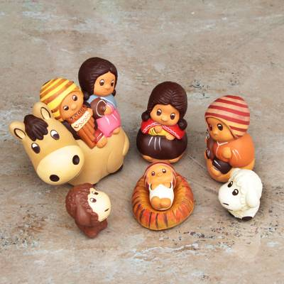 Ceramic nativity scene, 'Divine Arrival' (set of 7) - 7 Piece Christmas Ceramic Nativity Scene Hand Made in Peru