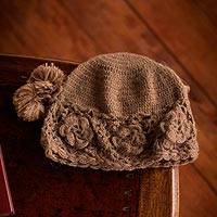 100% alpaca hat, 'Playful Pompoms' - Handmade Women's Floral Alpaca Wool Knit Hat