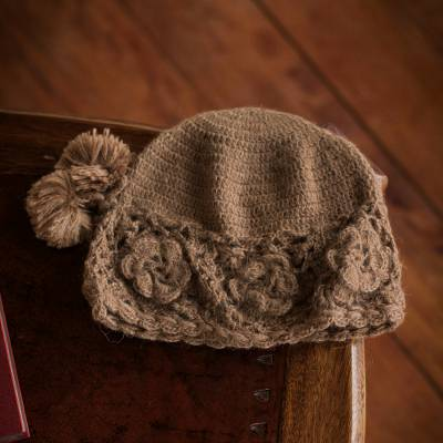 26b745077 Handmade Women's Floral Alpaca Wool Knit Hat, 'Playful Pompoms'