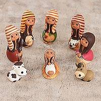 Ceramic nativity scene, 'Blessings' (set of 9) - Ceramic nativity scene (Set of 9)