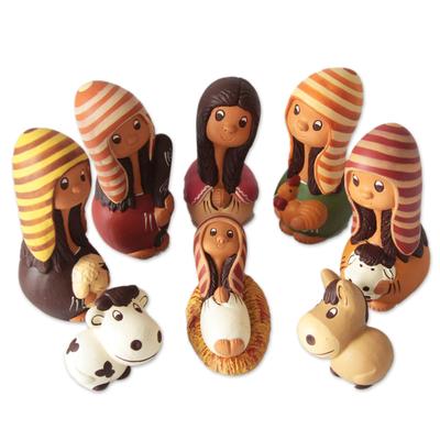 Ceramic nativity scene (Set of 9)