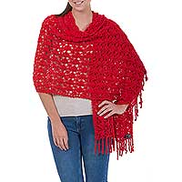 100% alpaca shawl, 'Cuzco Ruby' - Women's Alpaca Wool Crochet Shawl