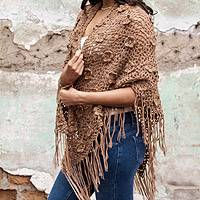 100% alpaca shawl, 'Nazca Roses' - Alpaca Wool Artisan Designer Hand Crocheted Shawl