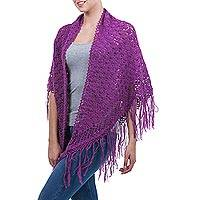 100% alpaca shawl, 'Amazon Orchid' - Genuine Alpaca Wool Crocheted Purple Shawl